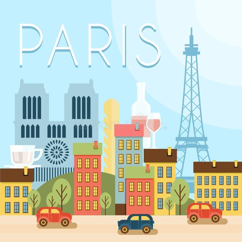 Benvenuto in Francia Attrazioni di Parigi, illustrazione di stock
