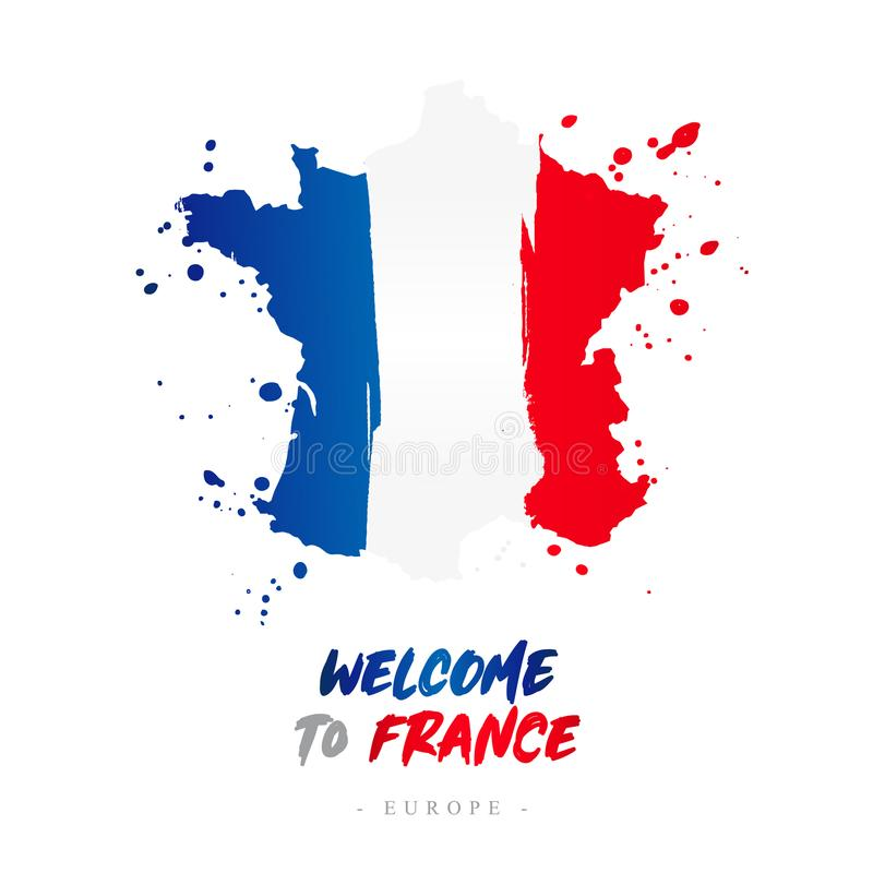 Benvenuto in Francia Bandiera e mappa del paese illustrazione vettoriale