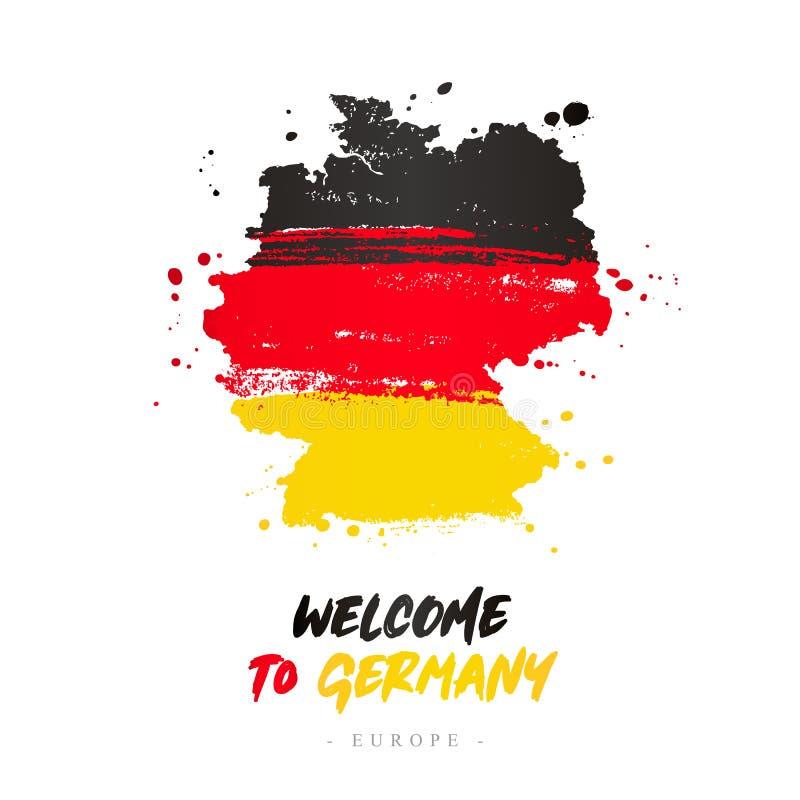 Benvenuto in Germania Bandiera e mappa del paese royalty illustrazione gratis