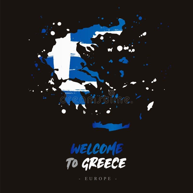 Benvenuto in Grecia Bandiera e mappa del paese illustrazione di stock