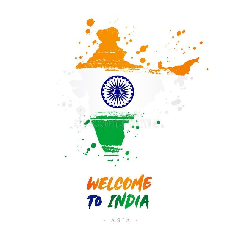 Benvenuto in India Bandiera e mappa del paese illustrazione vettoriale