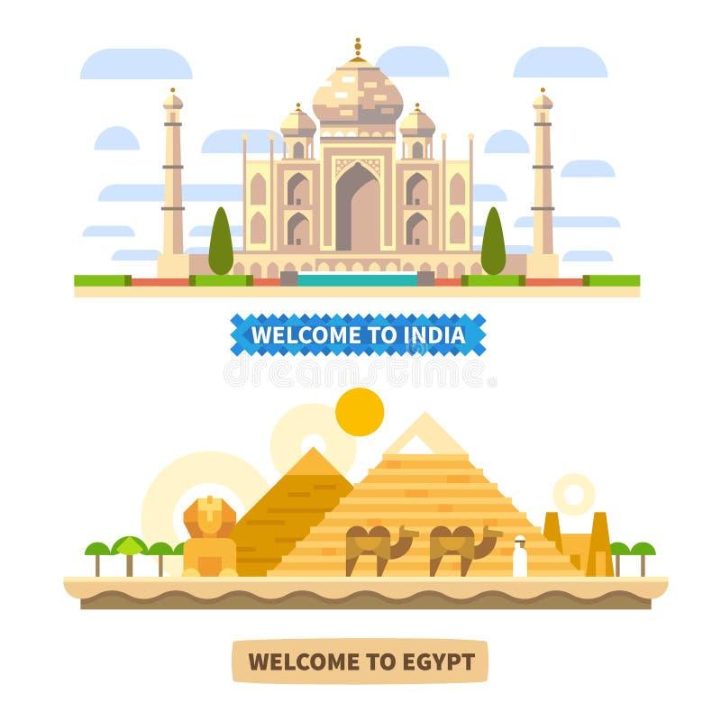 Benvenuto in India e nell'Egitto illustrazione vettoriale