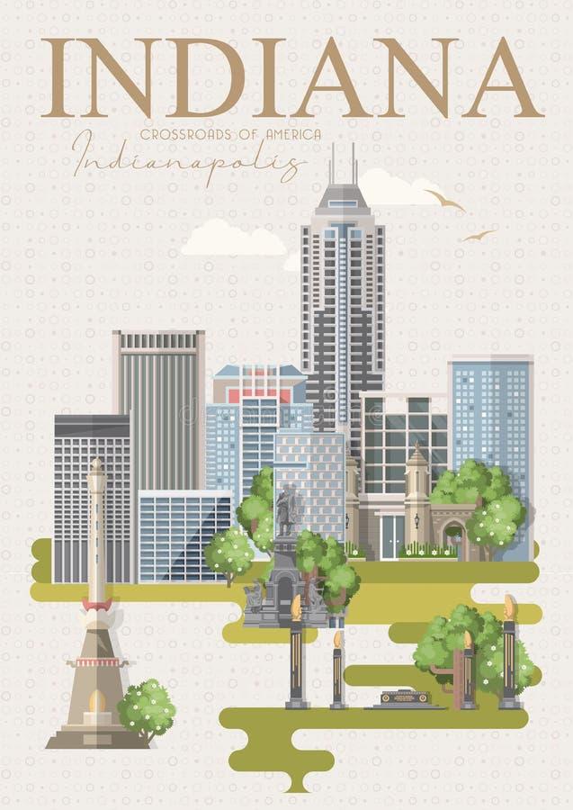 Benvenuto in Indiana Gli Stati Uniti d'America Strade trasversali dell'America Cartolina da Indianapolis Vettore di viaggio royalty illustrazione gratis