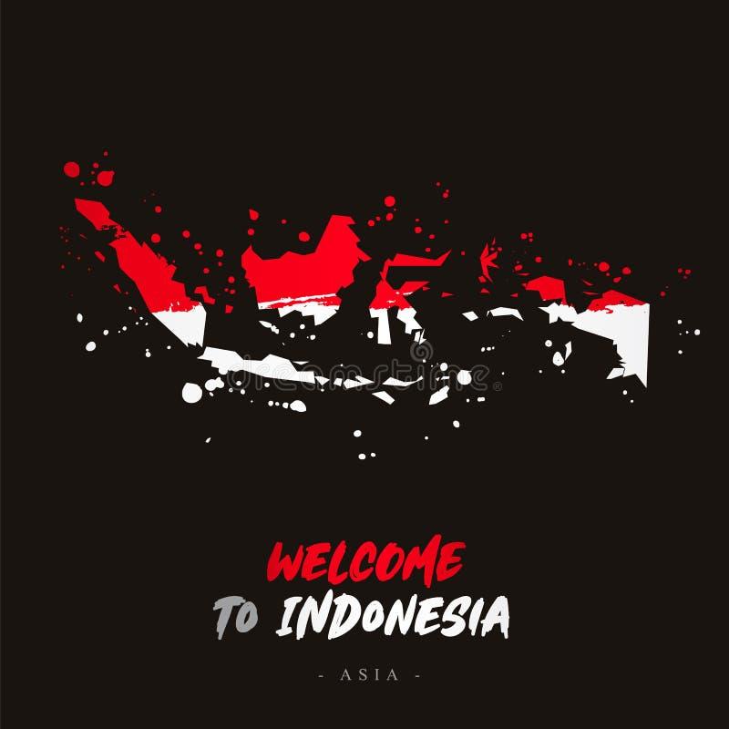 Benvenuto in Indonesia Bandiera e mappa del paese illustrazione vettoriale
