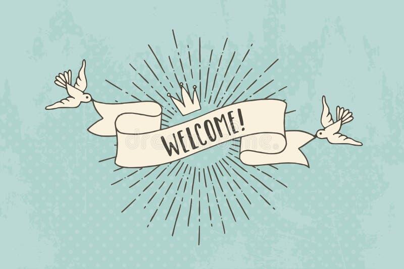 Benvenuto! Insegna d'annata illustrazione vettoriale