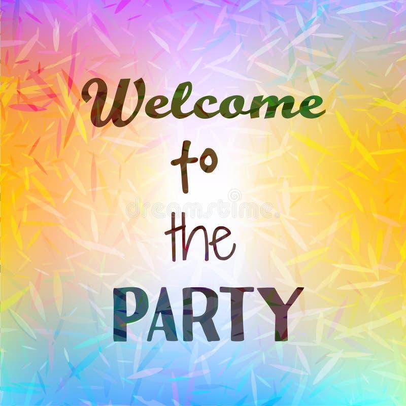 Benvenuto ispiratore di citazione da fare festa su fondo luminoso vago Manifesto motivazionale Disegno di scheda decorativo illustrazione di stock