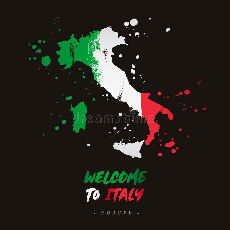 Benvenuto in Italia Bandiera e mappa del paese illustrazione vettoriale