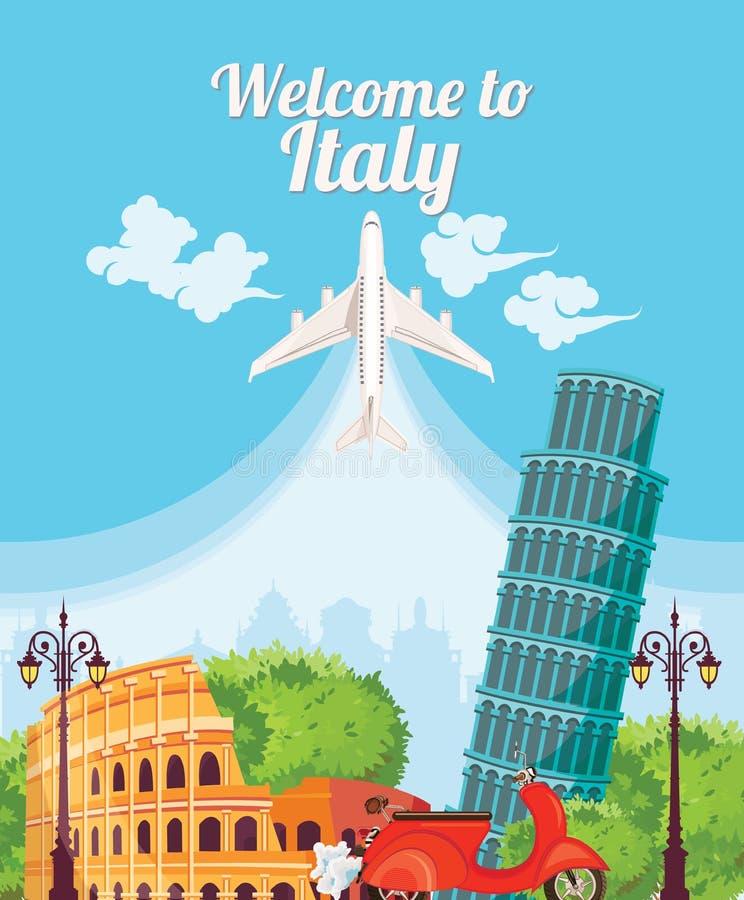 Benvenuto in Italia Punti di riferimento dell'italiano di viaggio illustrazione vettoriale