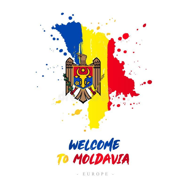 Benvenuto in Moldavia Bandiera e mappa del paese illustrazione vettoriale