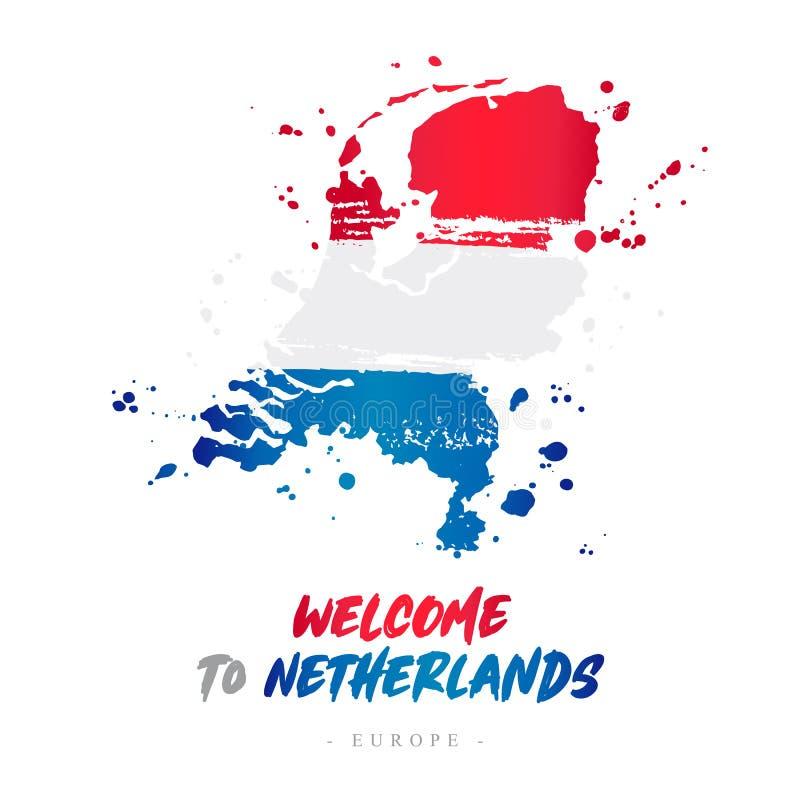 Benvenuto nei Paesi Bassi Bandiera e mappa del paese illustrazione di stock