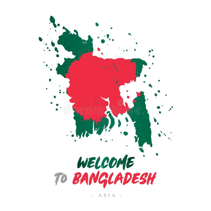 Benvenuto nel Bangladesh Bandiera e mappa del paese illustrazione vettoriale