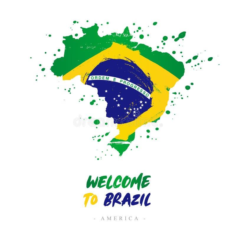 Benvenuto nel Brasile Bandiera e mappa del paese illustrazione vettoriale