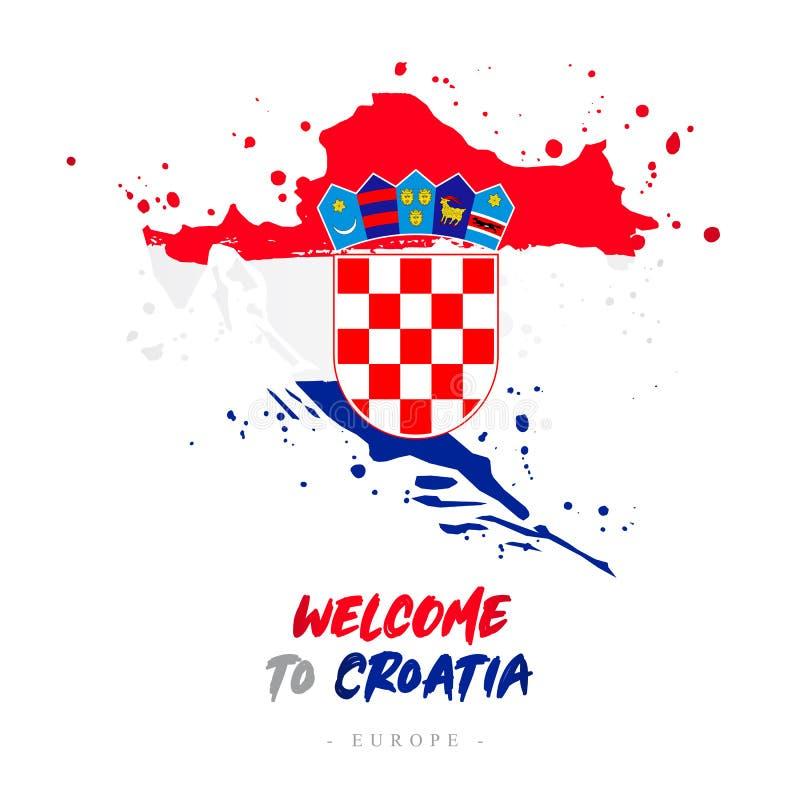 Benvenuto nel croatia Bandiera e mappa del paese royalty illustrazione gratis