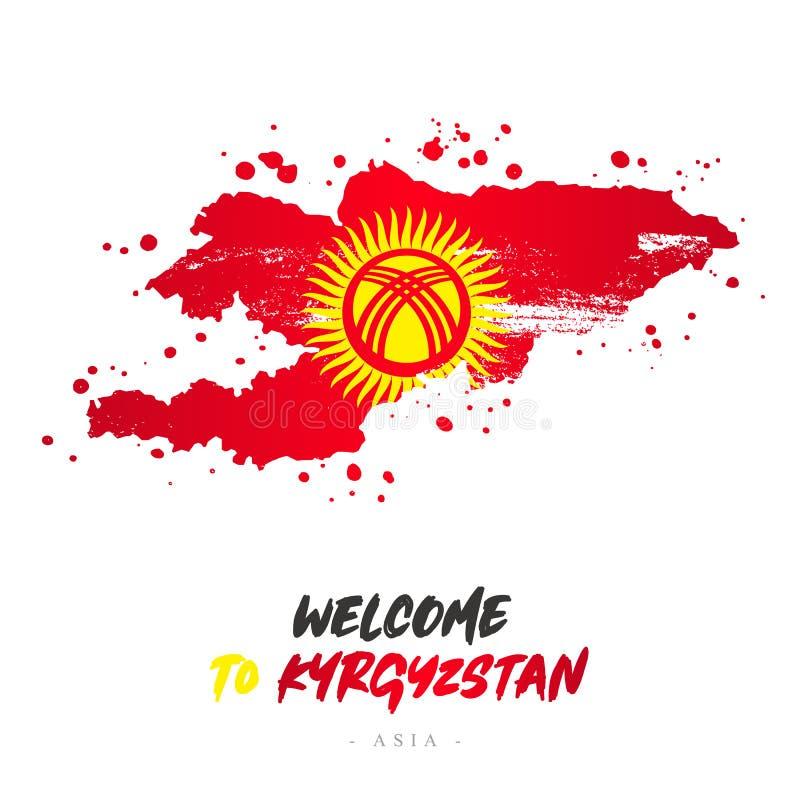 Benvenuto nel Kirghizistan Bandiera e mappa del paese illustrazione vettoriale