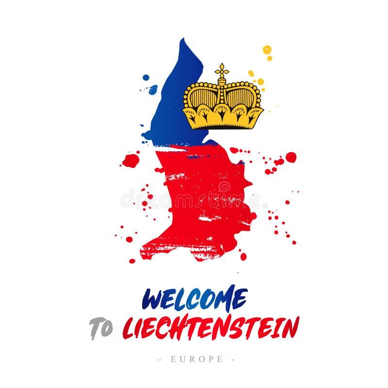 Benvenuto nel Liechtenstein Bandiera e mappa del paese illustrazione di stock