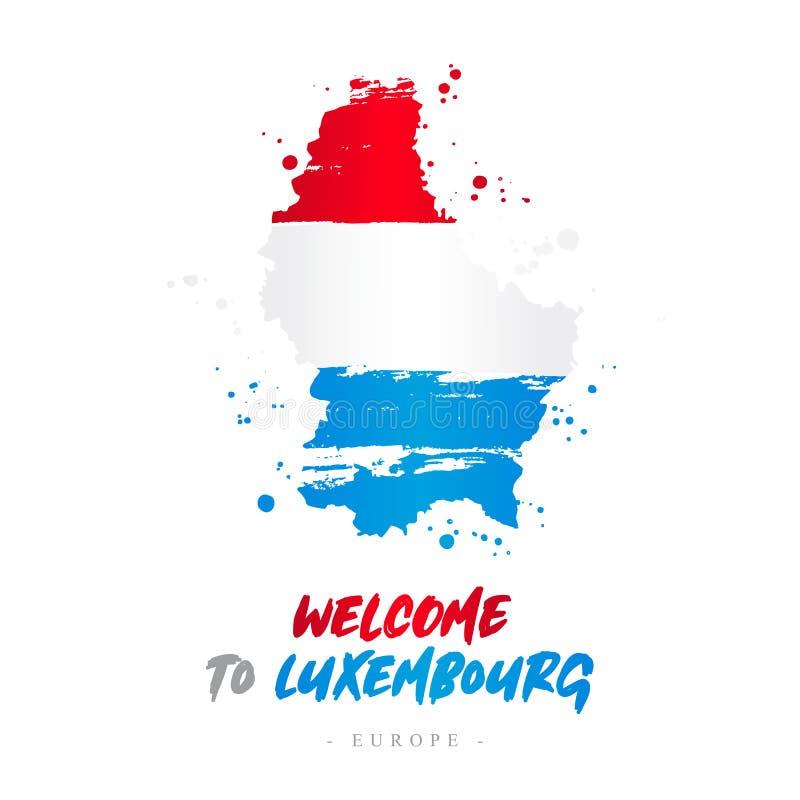 Benvenuto nel Lussemburgo Bandiera e mappa del paese royalty illustrazione gratis