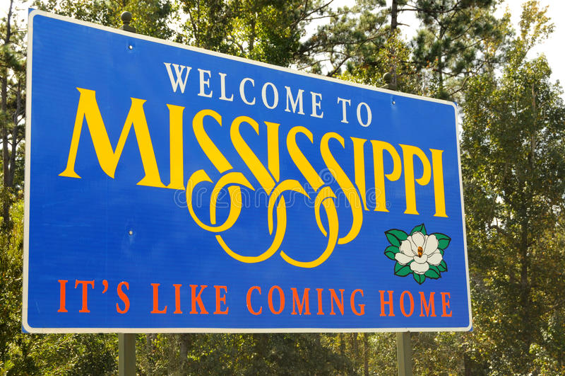 Benvenuto nel Mississippi immagine stock
