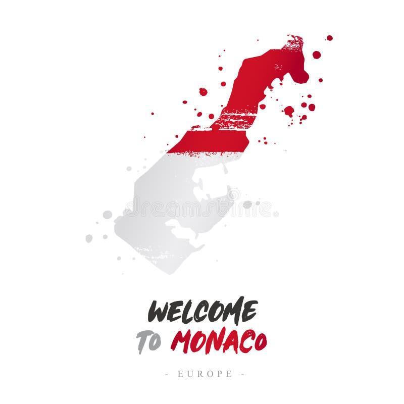 Benvenuto nel Monaco Bandiera e mappa del paese illustrazione vettoriale