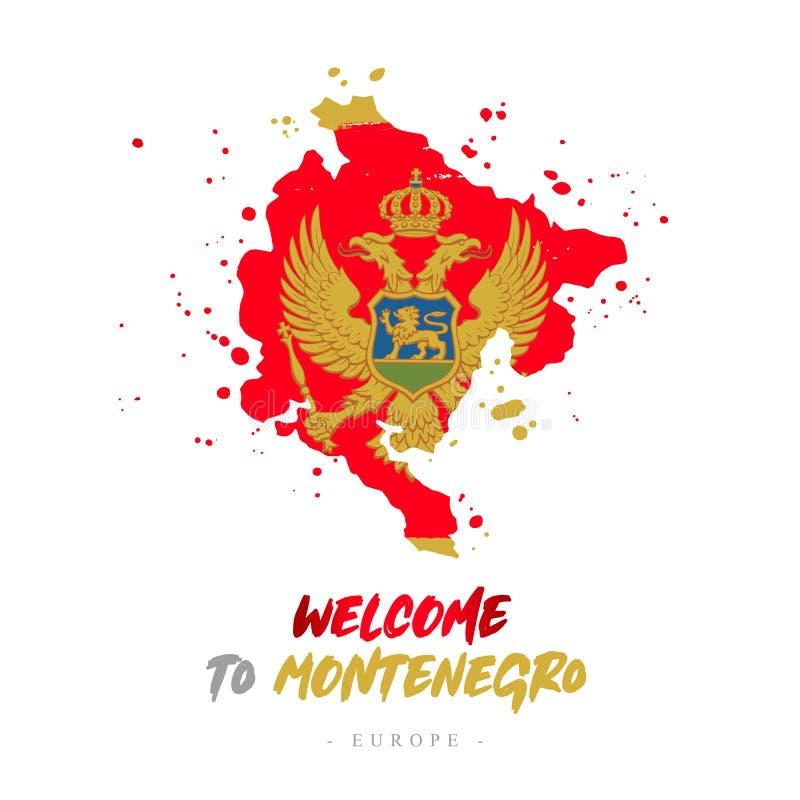 Benvenuto nel Montenegro Bandiera e mappa del paese illustrazione vettoriale