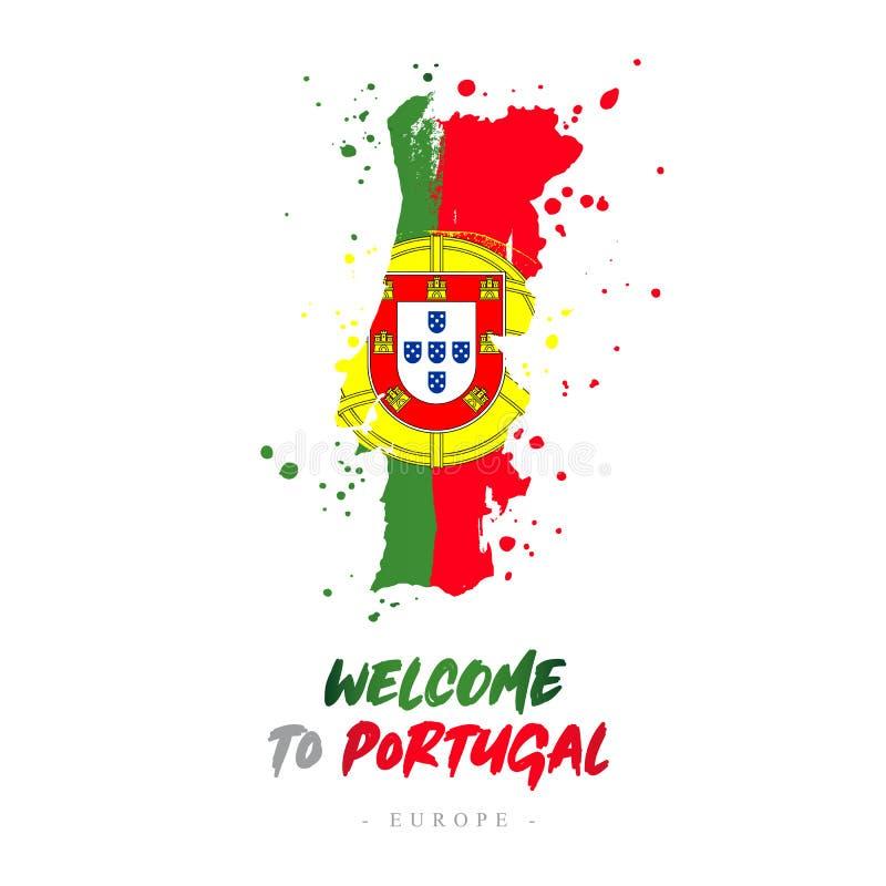 Benvenuto nel Portogallo Bandiera e mappa del paese royalty illustrazione gratis