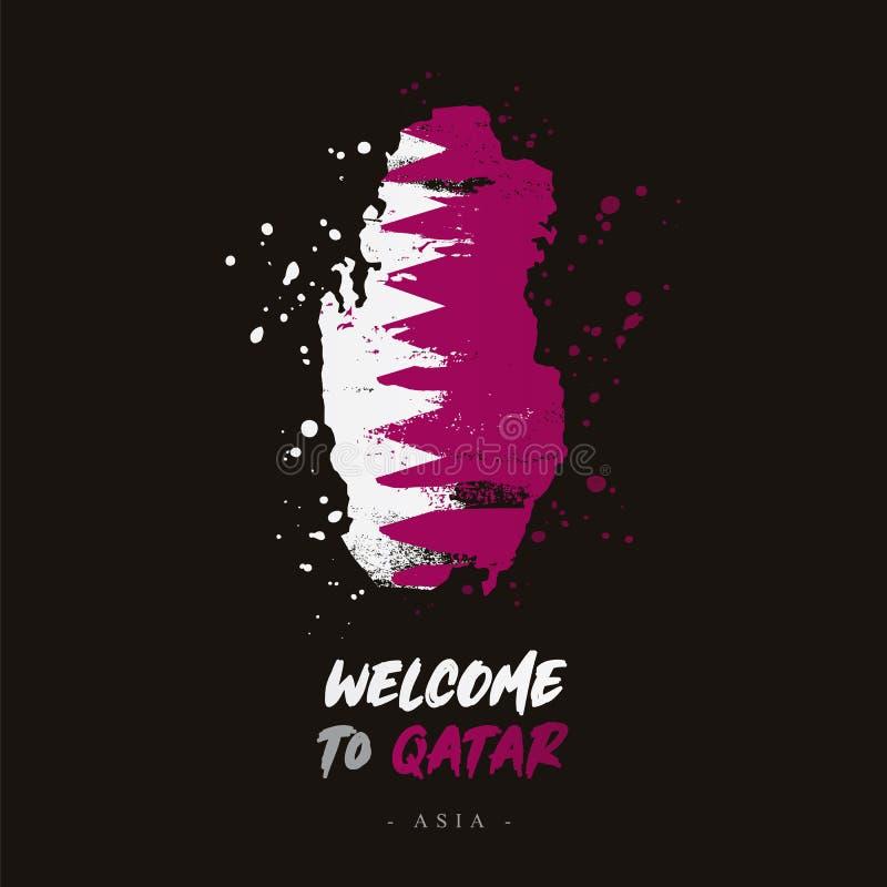 Benvenuto nel Qatar Bandiera e mappa del paese royalty illustrazione gratis