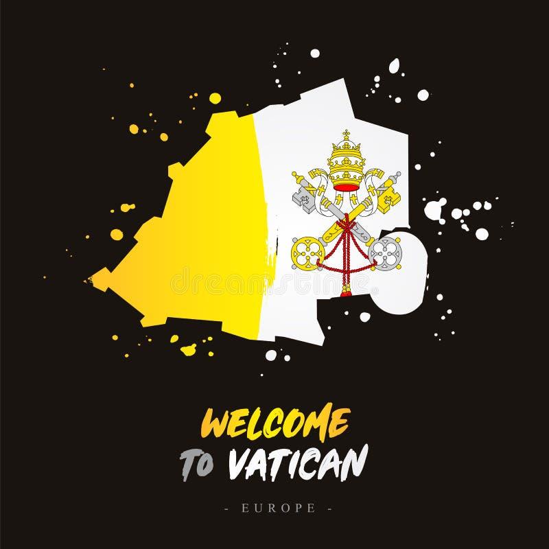 Benvenuto nel Vaticano Bandiera e mappa del paese illustrazione vettoriale