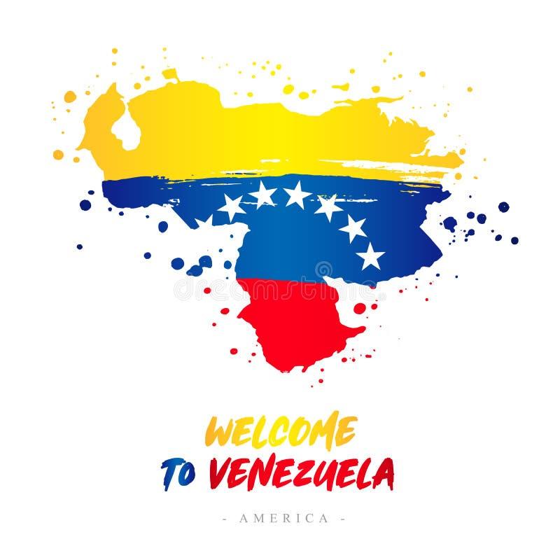 Benvenuto nel Venezuela Bandiera e mappa del paese illustrazione di stock