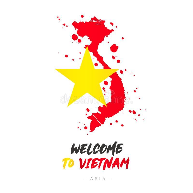 Benvenuto nel Vietnam l'asia Bandiera e mappa del paese illustrazione di stock