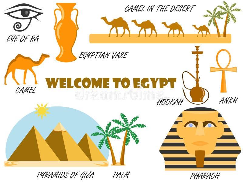 Benvenuto nell'egitto Simboli dell'Egitto Insieme delle icone Vettore royalty illustrazione gratis