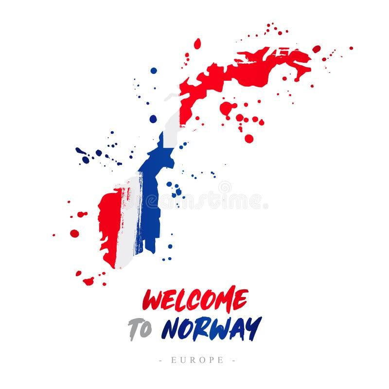 Benvenuto in Norvegia Bandiera e mappa del paese royalty illustrazione gratis