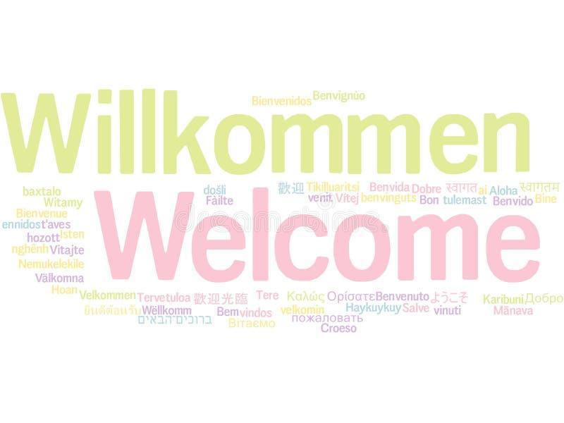 Benvenuto in nuvola differente di parola di lingue illustrazione di stock