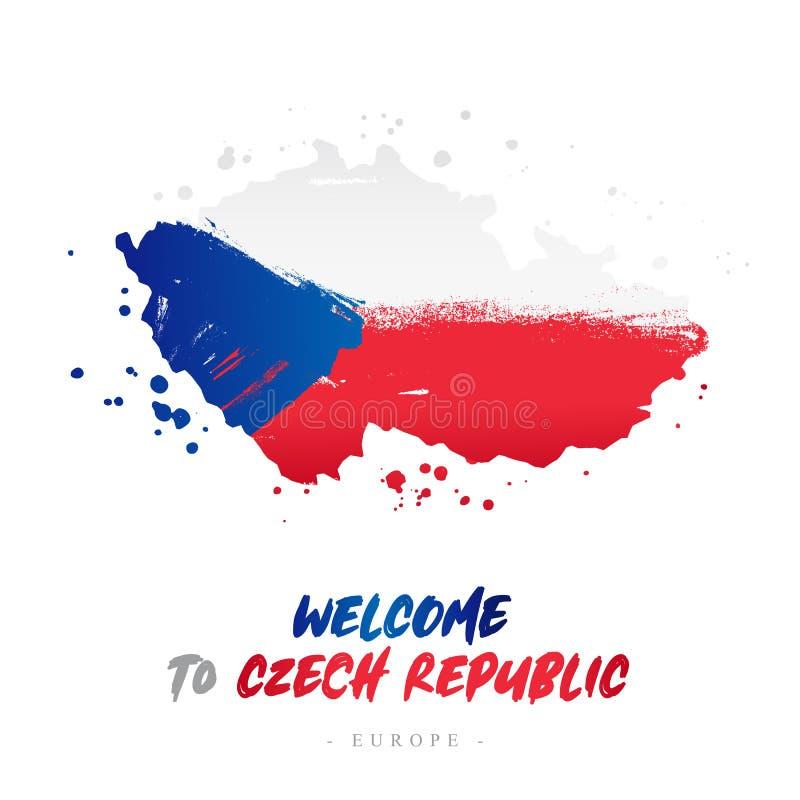Benvenuto in repubblica Ceca Bandiera e mappa del paese royalty illustrazione gratis