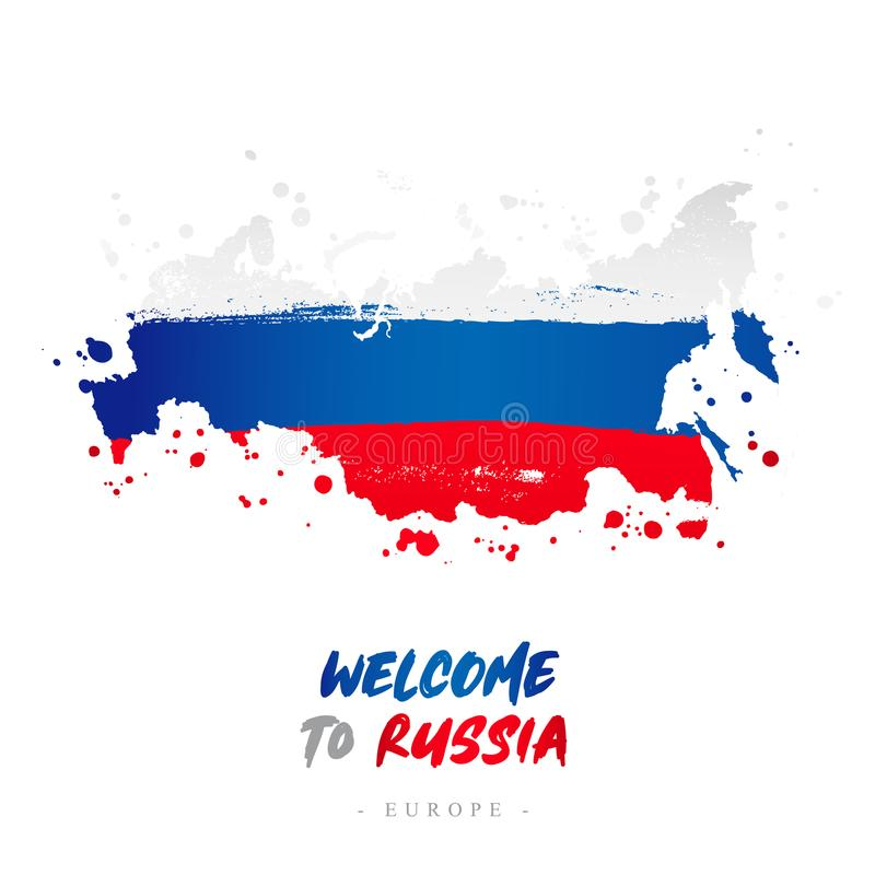 Benvenuto in Russia Bandiera e mappa del paese illustrazione vettoriale