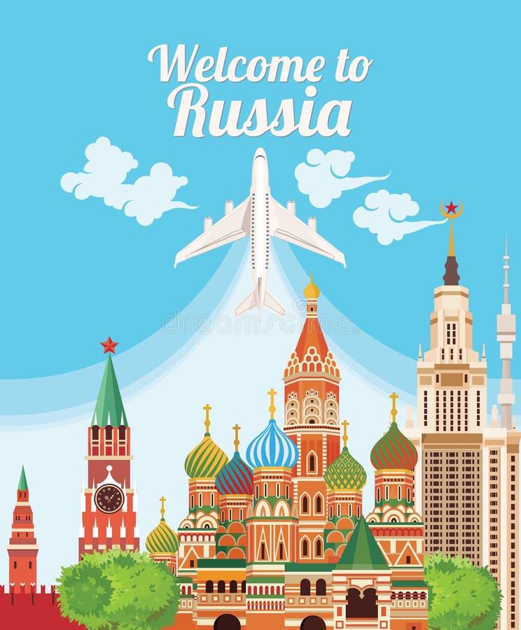 Benvenuto in Russia Punti di riferimento del Russo di viaggio Icone russe di vettore concetto di corsa Disegno di viaggio royalty illustrazione gratis