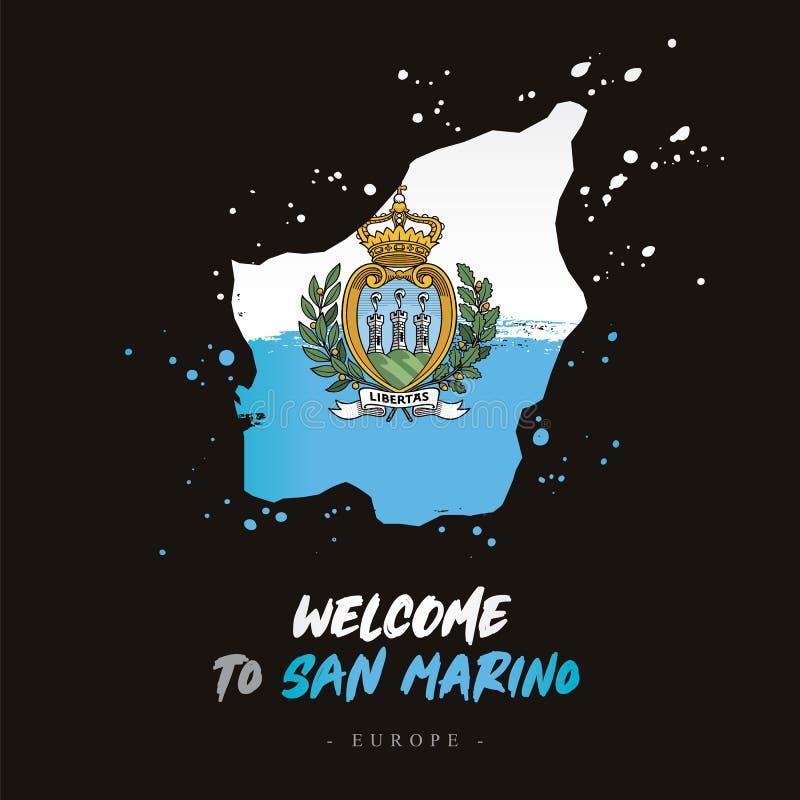 Benvenuto a San Marino Bandiera e mappa del paese illustrazione di stock