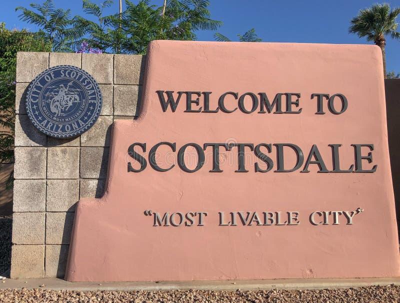 Benvenuto a Scottsdale Arizona, segno fotografie stock libere da diritti