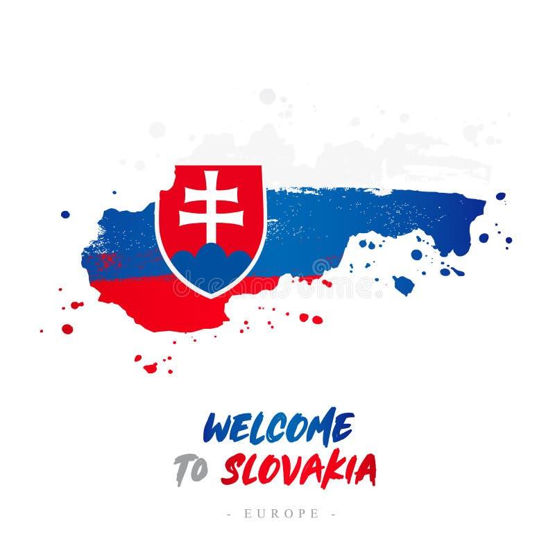Benvenuto in Slovacchia Bandiera e mappa del paese illustrazione di stock