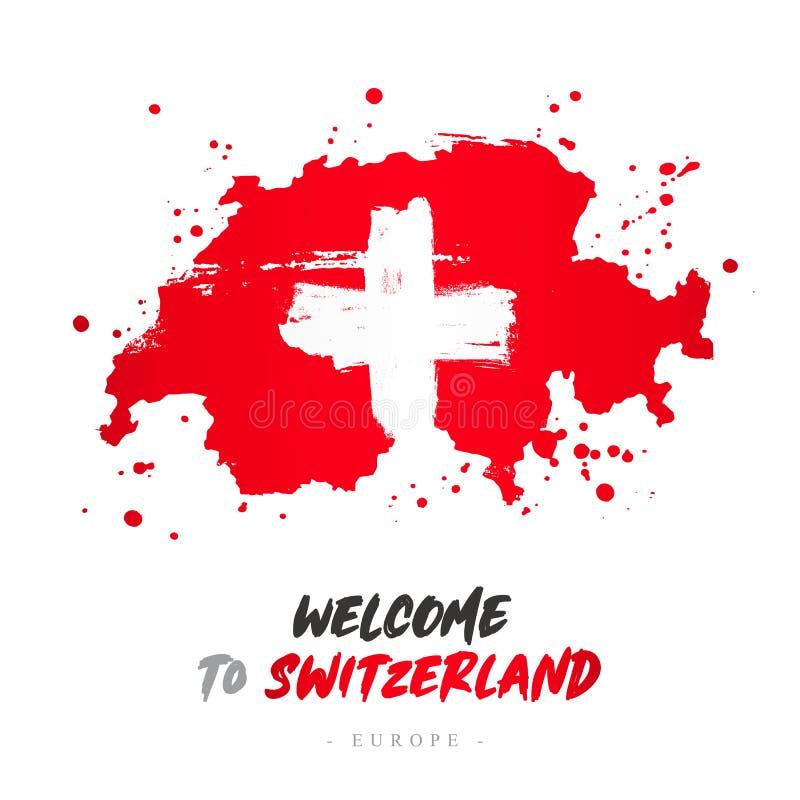 Benvenuto in Svizzera Bandiera e mappa del paese royalty illustrazione gratis