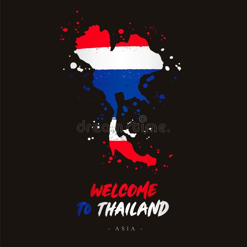 Benvenuto in Tailandia Bandiera e mappa del paese illustrazione vettoriale