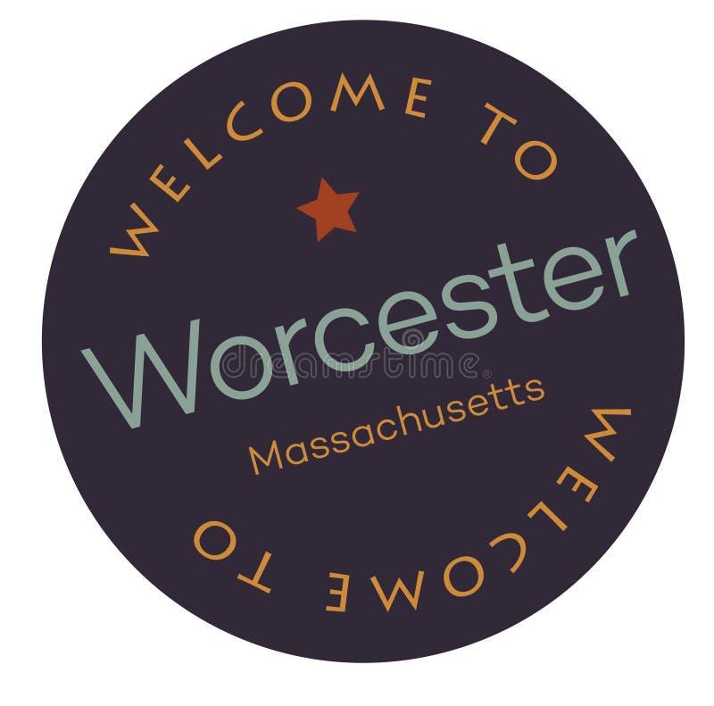 Benvenuto a Worcester Massachusetts illustrazione di stock