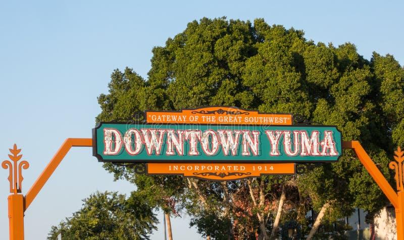 Benvenuto a Yuma del centro, Arizona immagini stock