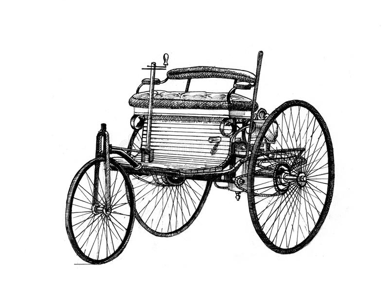 Benz Car, mano dibujada stock de ilustración