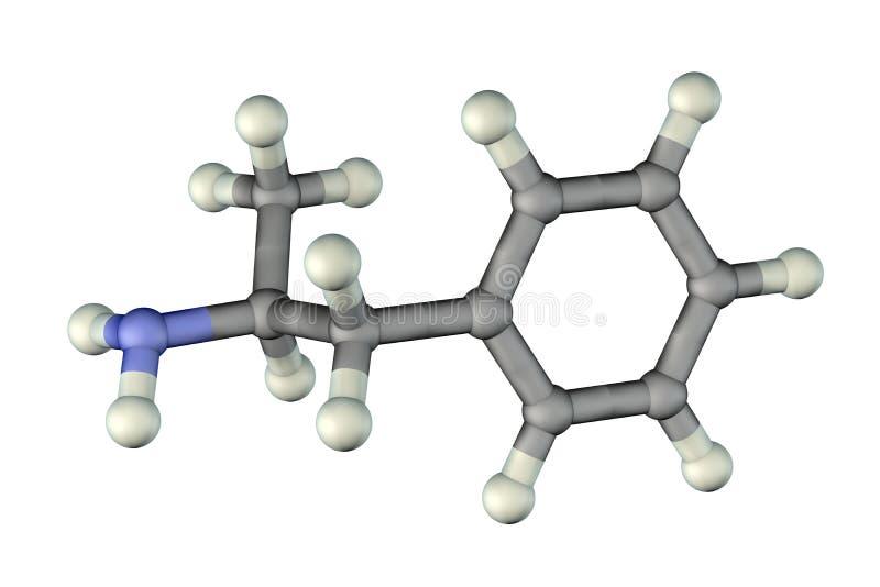 Benzedrinmolekül, ein starkes Reizmittel des Zentralnervensystems stock abbildung