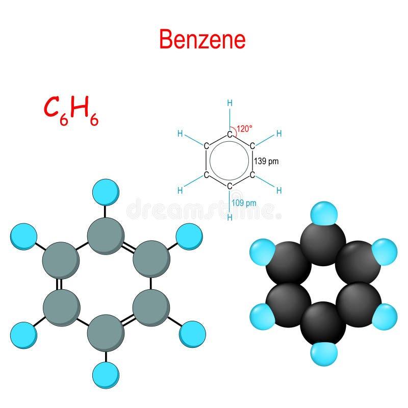 benzeen C6H6 Chemisch structureel formule en model van molecule stock illustratie
