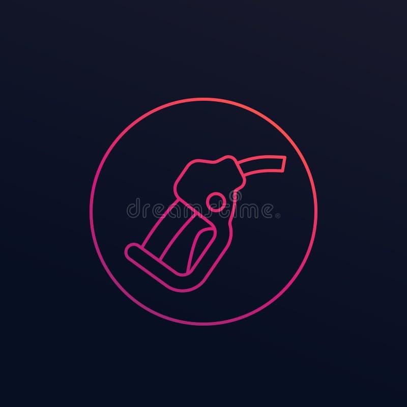 Benzindüse, Tankstelle-Vektorlinie Ikone vektor abbildung