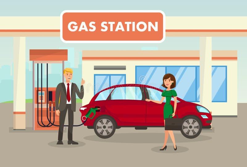 Benzine, het Vullen, Benzinestation Vectorillustratie stock illustratie