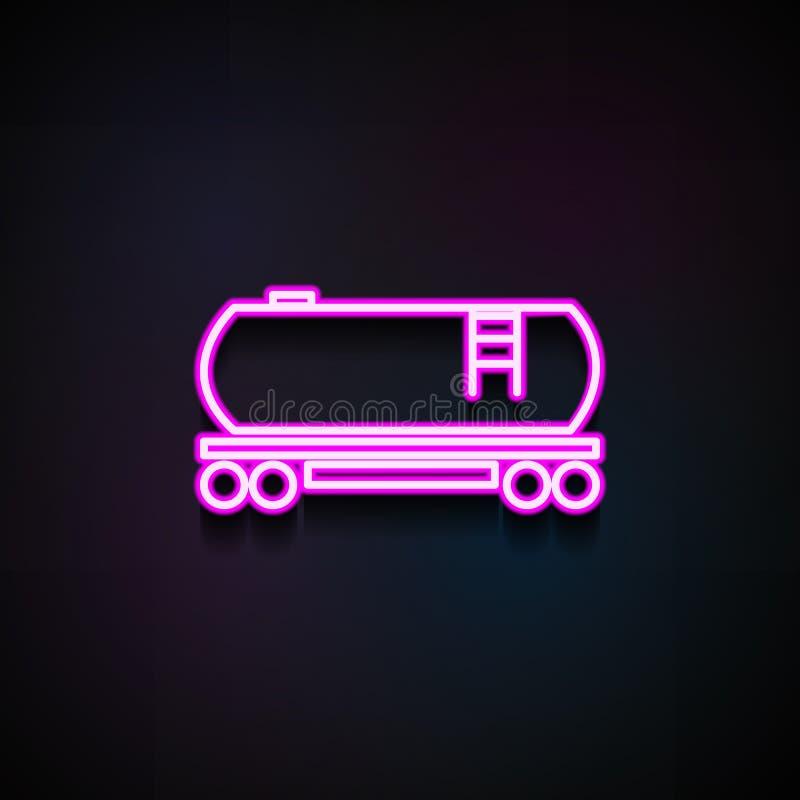 Benzineisenbahn-Tankerikone Element von Logistikikonen für bewegliche Konzept und Netz apps Neonbenzineisenbahn-Tankerikone kann stock abbildung