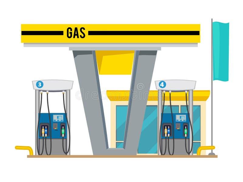 Benzinepomppost Buitenkant van de aardolieoliën van het winkelgas voor achtergrond van het auto's de vectorbeeldverhaal royalty-vrije illustratie
