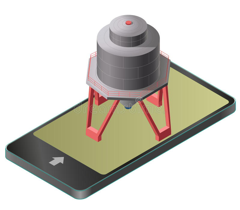 Benzinereservoir, de isometrische bouw in mobiele telefoon Gashouder op pijlers in communicatietechnologie, parafrase vector illustratie