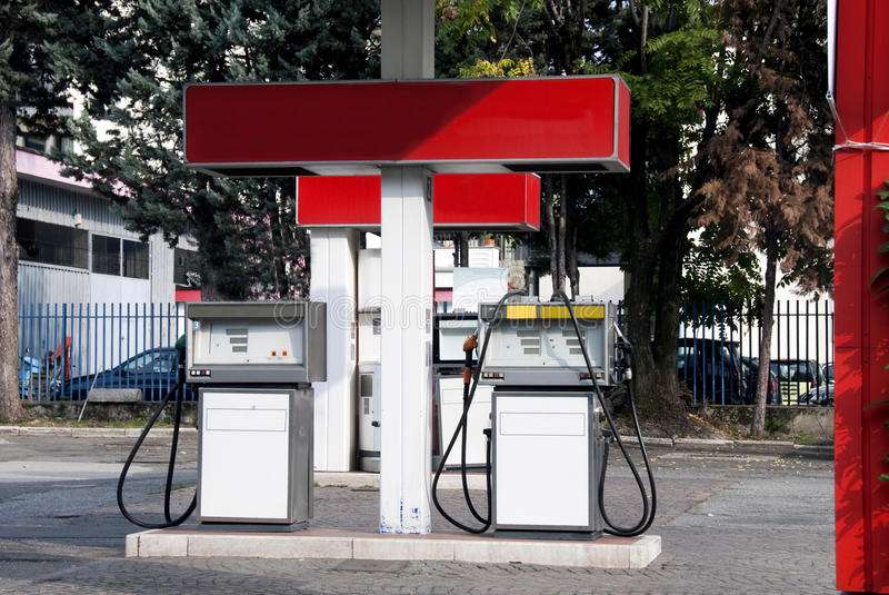 Benzinestation stock foto